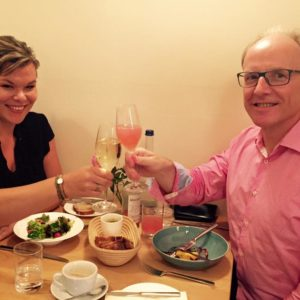 Toasting with publisher Springer Gabler to my book project with them